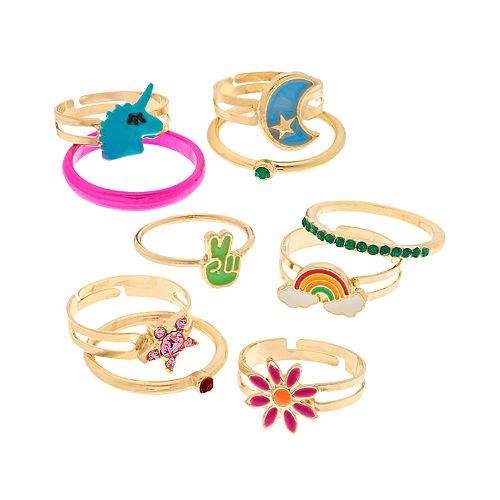 Gold Tone Unicorn, Peace & Rainbow Ring Set