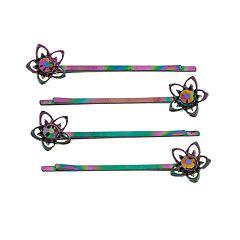 SO® Flower Motif Simulated Crystal Bobby Pin Set