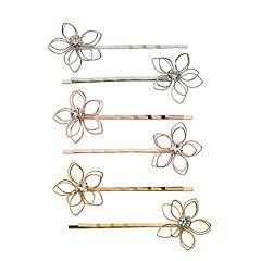 SO® Tri Tone Flower Motif Simulated Crystal Bobby Pin Set