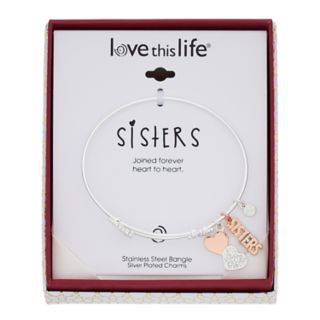 "love this life Two-Tone Crystal ""Sisters"" & Heart Charm Bangle Bracelet"