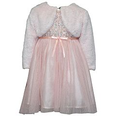 Girls 4-6x Blueberi Boulevard Velvet Tulle Dress & Faux-Fur Shrug Set