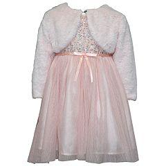 Girls 4-6x Blueberi Boulevard Velvet Tulle Dress & Faux-Fur Shrug Set