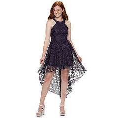 Juniors' Speechless Lace Halter High-Low Dress
