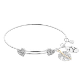 """love this life Crystal """"Be-leaf in yourself"""" Heart Cham Bangle Bracelet"""