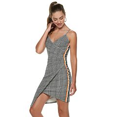 Juniors' Almost Famous Plaid Striped Asymmetrical Dress