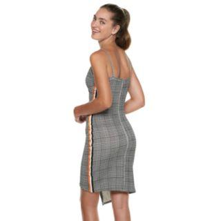 Juniors' Almost Famous Plaid Striped Asymmetrical Dress