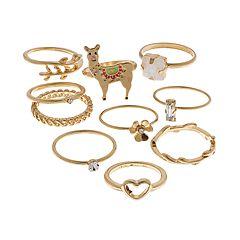 Gold Tone Flower, Heart, Llama & Simulated Stone Ring Set