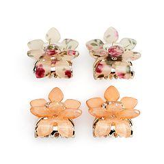 SO® Floral & Glitter Mini Claw Flower Hair Clip Set