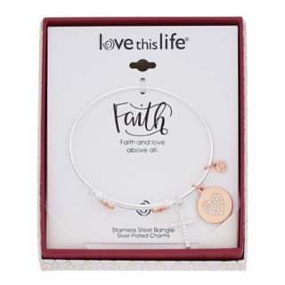 love this life Silver-Tone Crystal Cross & Heart Charm Bangle Bracelet