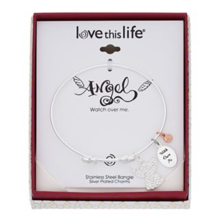"""love this life Crystal """"Watch Over Me"""" Angel Charm Bangle Bracelet"""