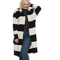 Plus Size POPSUGAR Striped Hood Coatigan
