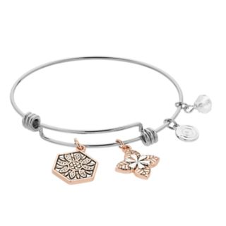 love this life Two Tone Flower Charm Bangle Bracelet