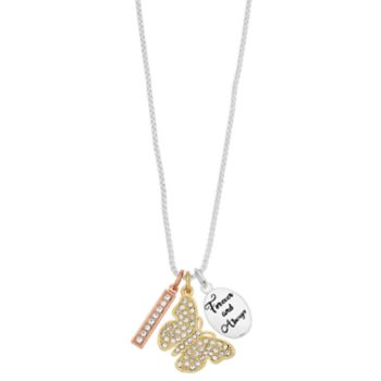 love this life Tri-Tone Forever And Always Butterfly Charm Necklace