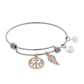 love this life Two Tone Angel Wing and Cross Bangle Bracelet