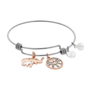 love this life Two Tone Elephant Bangle Bracelet