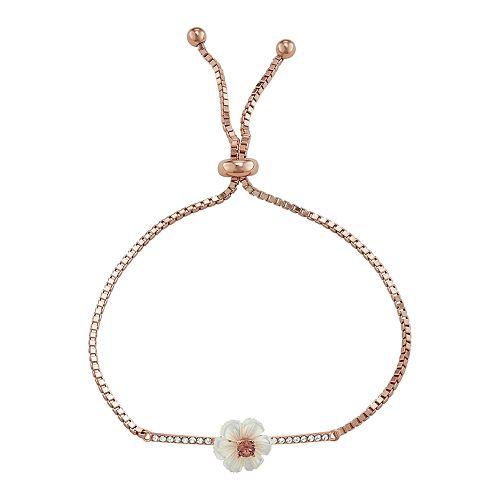 Sterling 'N' Ice Crystal Flower Adjustable Bracelet