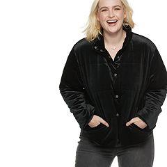 Plus Size POPSUGAR Velvet Puffer Jacket