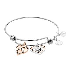 love this life Two Tone Bird Heart Charm Bangle Bracelet
