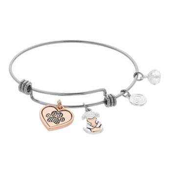 love this life Two Tone Paw Heart Bangle Bracelet