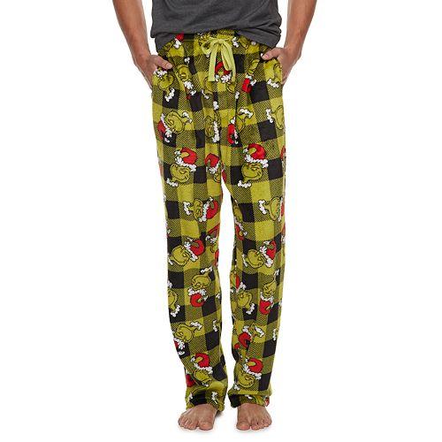 Men's Dr. Seuss Grinch Santa Buffalo Plaid Lounge Pants