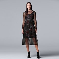 Women's Simply Vera Vera Wang Floral Mesh Overlay Dress