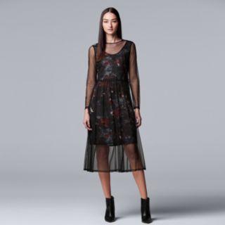 Women's Simply Vera Vera Wang Floral Mesh Overlay Dress