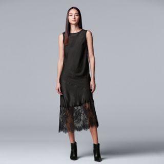 Women's Simply Vera Vera Wang Lace-Hem Satin Slip Dress