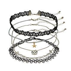Panda, Star & Tattoo Choker Necklace Set