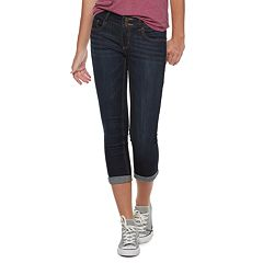 Juniors' SO® Double Button Low Rise Cropped Jegging Capri