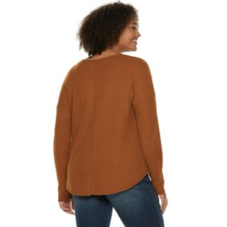 Juniors' Plus Size Mudd® Waffle Tie-Front Long Sleeve Top
