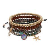 Starfish Charm & Beaded Stretch Bracelet Set