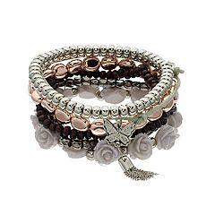 Rose, Butterfly & Beaded Stretch Bracelet Set