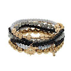 Cactus, Sun & Beaded Stretch Bracelet Set