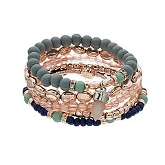 Simulated Crystal Charm and Beaded Stretch Bracelet Set