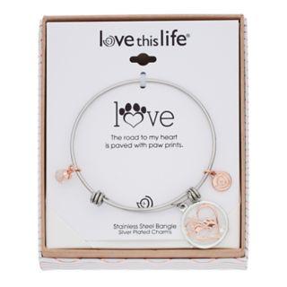 love this life Two Tone Paws Heart Shaker Bangle Bracelet