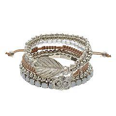 Leaf Charm & Beaded Stretch Bracelet Set