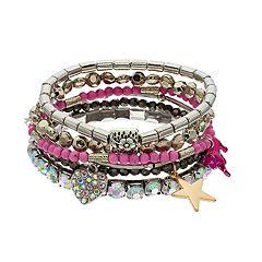 Star, Heart & Beaded Stretch Bracelet Set