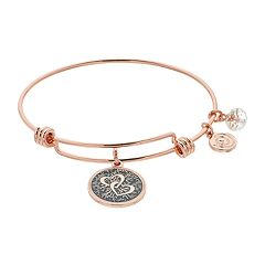 love this life Interlocking Heart Charm Bangle Bracelet