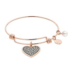 love this life Family Tree Heart Charm Bangle Bracelet