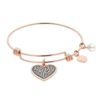 love this life Family Tree Heart Charm Bangle Bracelet