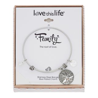 love this life Family Tree Charm Bangle Bracelet