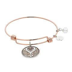 love this life Two Tone Angel Wing Charm Bangle Bracelet