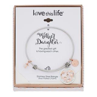 love this life Two Tone Heart Shaker Charm Bangle Bracelet