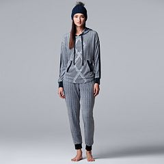Women's Simply Vera Vera Wang 3-piece Top, Joggers & Hat Pajama Set