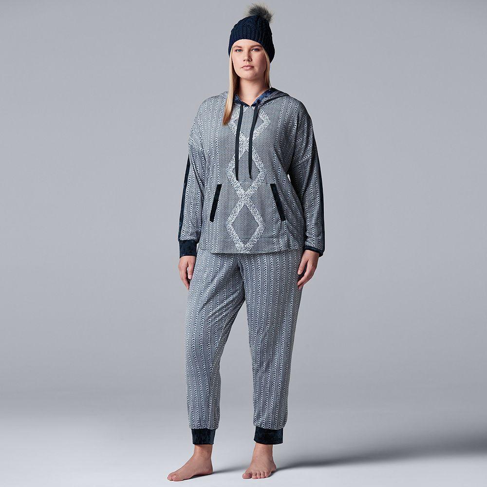 Plus Size Simply Vera Vera Wang 3-piece Sleep Sleep Top, Banded Bottom Sleep Pants & Hat Pajama Set