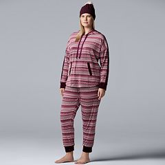 Plus Size Simply Vera Vera Wang 3-piece Sleep Sleep Top, Banded Bottom Sleep Pants & Hat Pajama Set