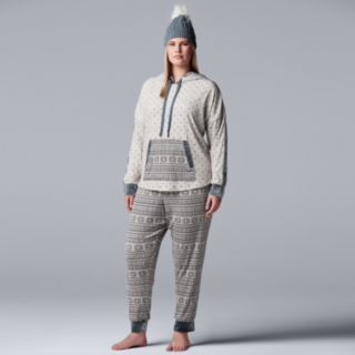 Plus Size Simply Vera Vera Wang 3-piece Top, Joggers & Hat Pajama Set