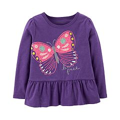 Baby Girl Carter's Embellished Graphic Peplum-Hem Tee