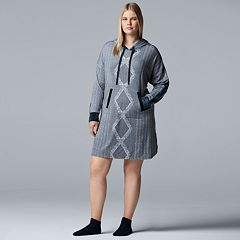 Plus Size Simply Vera Vera Wang Hooded Sleepshirt & Sock Set