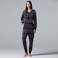 Women's Simply Vera Vera Wang Hooded One-Piece Pajamas